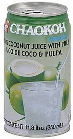 coconut juice young, with pulp Chaokoh Nutrition info