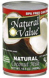 coconut milk natural Natural Value Nutrition info