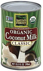 coconut milk organic, unsweetened, classic Native Forest Nutrition info