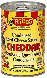 condensed aged cheese sauce cheddar Ricos Nutrition info