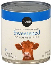 condensed milk sweetened Publix Nutrition info