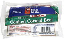 cooked corned beef sliced, lean Sinai Kosher Nutrition info