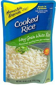 cooked rice long grain white rice Homestyle Express Nutrition info