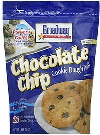 cookie dough pucks chocolate chip Broadway Foods Nutrition info