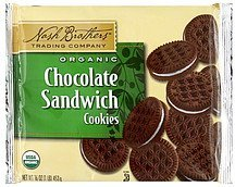 cookies sandwich, chocolate, organic Nash Brothers Trading Company Nutrition info