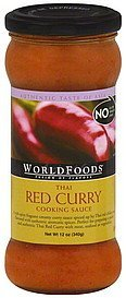 cooking sauce thai, hot, red curry World Foods Nutrition info
