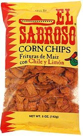 corn chips chile y limon El Sabroso Nutrition info