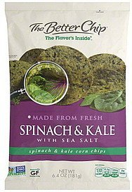 corn chips spinach & kale with sea salt The Better Chip Nutrition info
