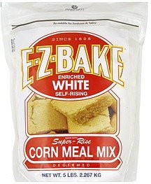 corn meal mix enriched white, self-rising, degermed E-z-bake Nutrition info