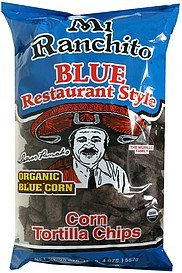 corn tortilla chips blue corn, organic, restaurant style Mi Ranchito Nutrition info