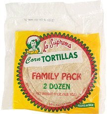 corn tortillas family pack La Suprema Nutrition info