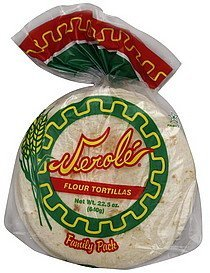 corn tortillas, flour, family pack Verole Nutrition info