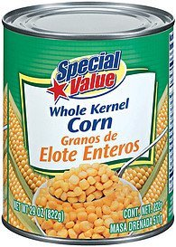 corn whole kernel Special Value Nutrition info