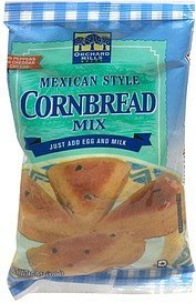 cornbread mix with peppers and cheddar cheese, mexican style Orchard Mills Nutrition info