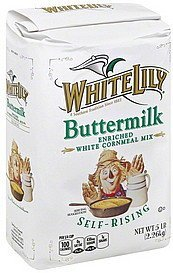 cornmeal mix white, buttermilk, self-rising White Lily Nutrition info