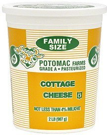 cottage cheese family size Potomac Farms Nutrition info