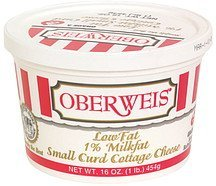 cottage cheese low fat, small curd Oberweis Nutrition info
