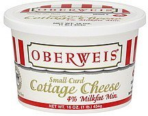 cottage cheese small curd, 4% milkfat min. Oberweis Nutrition info