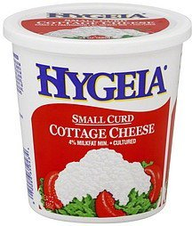 cottage cheese small curd, 4% milkfat min. Hygeia Nutrition info