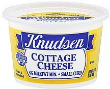 cottage cheese small curd, 4% milkfat min. Knudsen Nutrition info