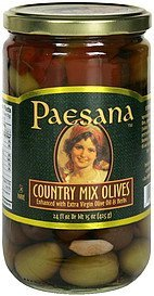 country mix olives enhanced with extra virgin olive oil & herbs Paesana Nutrition info