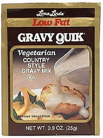 country style gravy mix, vegetarian, low fat Gravy Quick Nutrition info