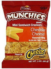 crackers mini sandwich, cheddar cheese Munchies Nutrition info