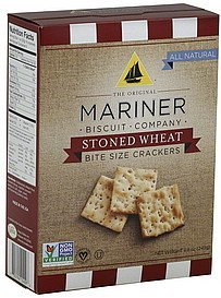 crackers stoned wheat, bite size Mariner Nutrition info