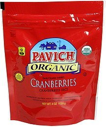 cranberries sweetened dried, organic Pavich Nutrition info