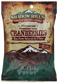 cranberries sweetened dried Shadow Hills Nutrition info