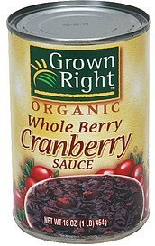 cranberry sauce whole berry Grown Right Nutrition info