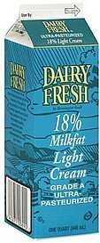 cream light, 18% milkfat Dairy Fresh Nutrition info