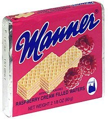 creme filled wafers raspberry Manner Nutrition info