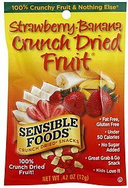 crunch dried snacks fruit, strawberry-banana Sensible Foods Nutrition info