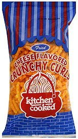 crunchy curls cheese flavored, fried Kitchen Cooked Nutrition info
