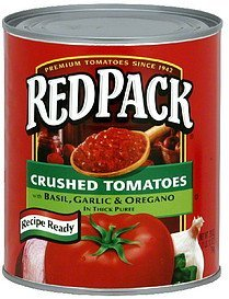 crushed tomatoes basil, garlic & oregano in thick puree Red Pack Nutrition info