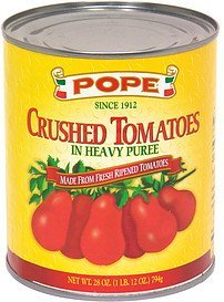 crushed tomatoes in heavy puree Pope Nutrition info