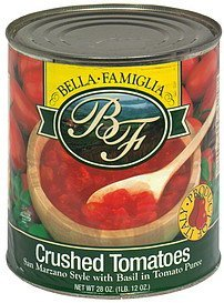 crushed tomatoes san marzano style with basil in tomato puree Bella Famiglia Nutrition info