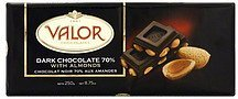 dark chocolate 70% cocoa, with almonds Valor Chocolates Nutrition info