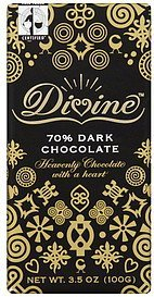 dark chocolate 70% Divine Nutrition info
