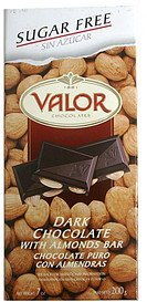 dark chocolate bar with almonds Valor Chocolates Nutrition info