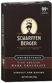 dark chocolate fine artisan, unsweetened Scharffen Berger Nutrition info