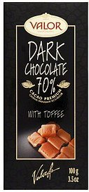 dark chocolate with toffee Valor Chocolates Nutrition info
