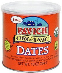 dates organic, pitted Pavich Nutrition info