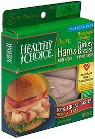 deli meat sliced, honey ham and honey roasted and smoked turkey breast sliced Healthy Choice Nutrition info