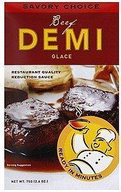 demi glace beef Savory Choice Nutrition info