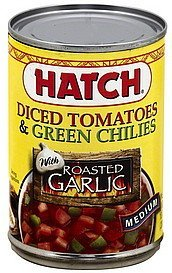diced tomatoes & green chilies with roasted garlic, medium Hatch Nutrition info