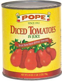 diced tomatoes in juice Pope Nutrition info