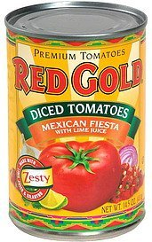 diced tomatoes, mexican fiesta with lime juice Red Gold Nutrition info