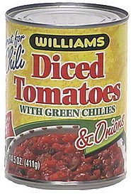 diced tomatoes with green chilies & onions Williams Nutrition info